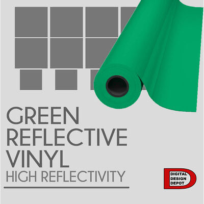 "GREEN Reflective Vinyl Adhesive Cutter Sign Hight Reflectivity 24"" x 25 Feet :)"