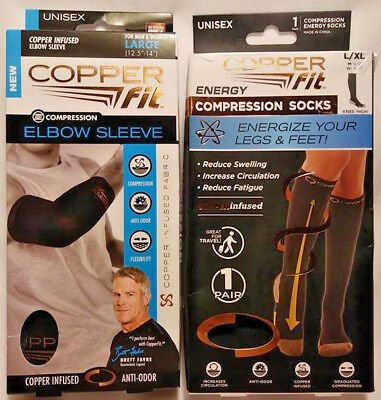 2 Pack Copper Fit Compression Socks / Elbow Sleeve Unisex L/xl Free Fast Ship
