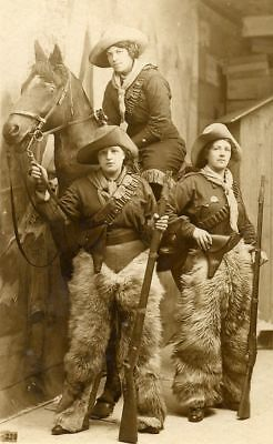 New Art Print Of c.1880 Photo Real Cowgirls With Guns 8 1/2 X 11