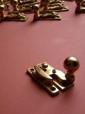 Polished brass lockable sash window fastener, narrow fitting, several available