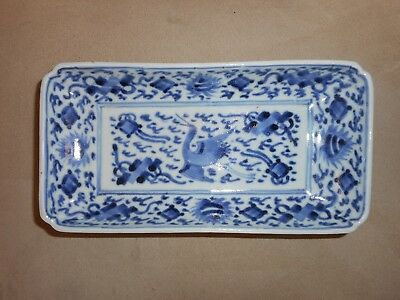 A Rare Chinese Blue & White Tray W/  Flying Stork  Lozenges & Flaming Pearls