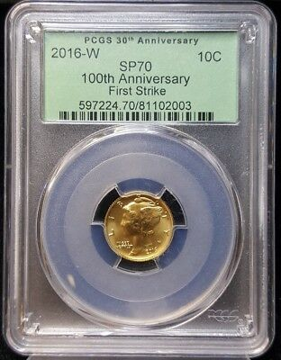 2016 W Gold Mercury Dime 1/10oz Gold Centennial Coin NGC SP70 FIRST STRIKE 30TH
