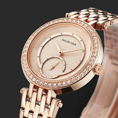Taylor Cole Women's Lady Bling Crystal Stainless Steel Quartz Wrist Watch Gift