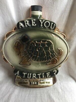 Jim Beam Bourbon Bottle 1975 Are You A Turtle?  How Sweet It Is Decanter