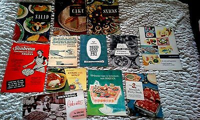 Vintage Lot 12 RECIPE BOOK BOOKLET 1950'S ADVERTISE Cookomatic Betty Crocker etc