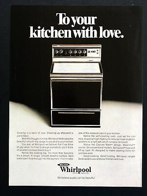 1977 Vintage Print Ad WHIRPOOL Kitchen Range 70's Appliance Image Photo