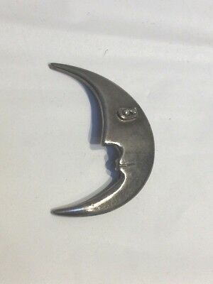 Vintage Mexico TF-39 Sterling Silver Crescent Moon Face Pin / Brooch