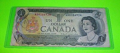 1973 Bank of Canada One Dollar Bank Bill Note ~ ND 0256924 ~ Ottawa Paper Money