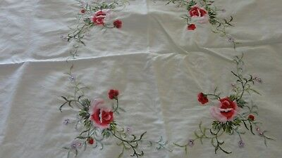 Vintage embroided supper Table Cloth 78cm x 78cm roses