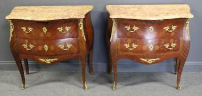 Lovely Pair of Louis XV Style Bronze Mounted Marble Top Bedside Commodes 1890