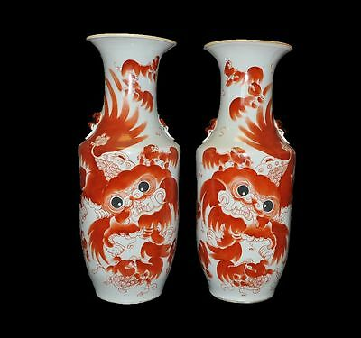 2 pcs Chinese Jingdezhen Old Red and black porcelain vase  lion