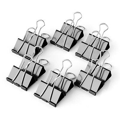 12pcs/Box Metal Binder Clips 50mm Width File Paper Document Office School Black