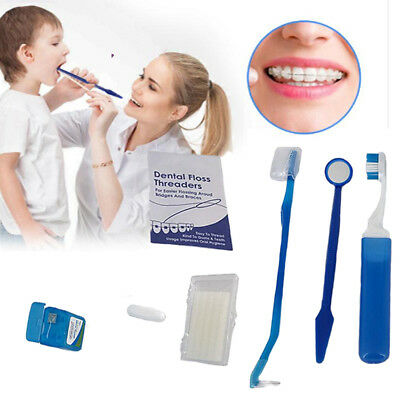 Orthodontic Oral Care Teeth Whitening Kit Toothbrush Dental Floss With Mirror