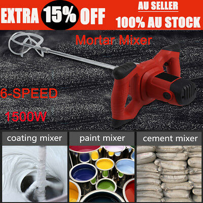AU Handheld 6-speed Electric Mixer for Stirring Mortar Paint Cement Grout 1500W