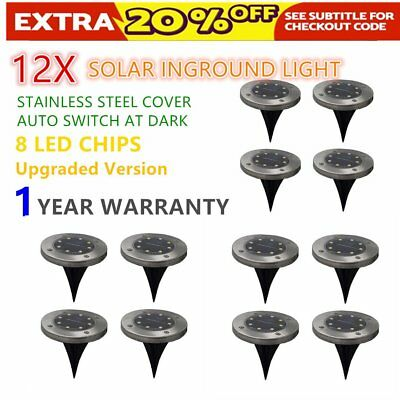 12x Solar Powered LED Buried Inground Recessed Light Garden Outdoor Deck Path IP