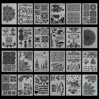 Stencil Alphabet Stencils Wall Painting Templates Craft Letters Flowers