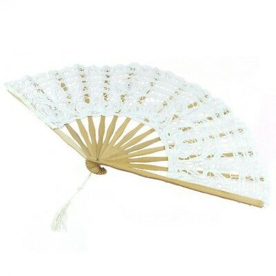 Handmade Cotton Lace Folding Hand Fan for Party Bridal Wedding Decoration ( V2W7