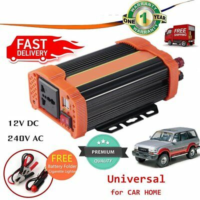 2000W (3000W Max) Power Inverter Car DC 12V to 230V AC Converter w/ USB Charger