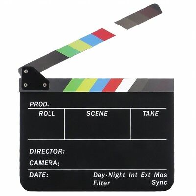Dry Erase Directors Film Movie Clapboard Cut Action Scene Clapper Board Sla T7P3