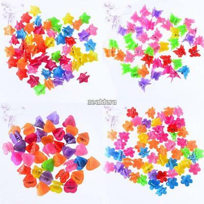 100 PCS Kids Baby Girls Candy Colour Hairpins Mini Claw Hair Clips Clamp Flowers