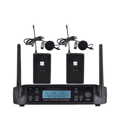 Wireless Clip On Lapel Lavalier Microphone System UHF Cordless Mic for Stage