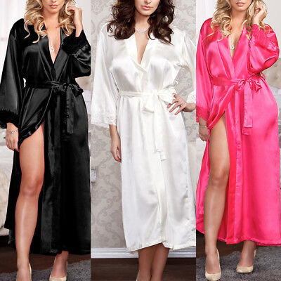 Women Silk Satin Long Wedding Bride Bridesmaid Robe Kimono Robe Feminino Bath