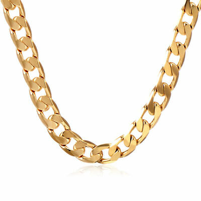 """Charm 18K Yellow Gold Filled Cuban Link Chain Mens Womens Long Necklace 19.7"""""""