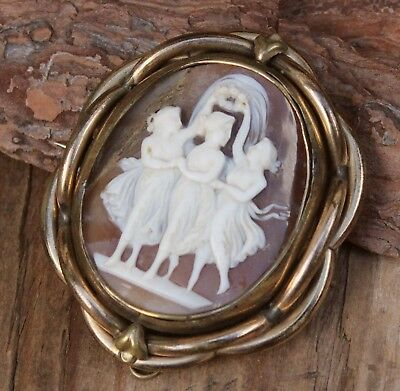 Antique Victorian Locket Brooch Shell Cameo Swivel Three Graces Large Original