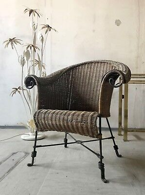 1of4 VINTAGE 70s 80s FRENCH GARDEN TERRACE PATIO WICKER CHAIR WROUGHT IRON LEGS