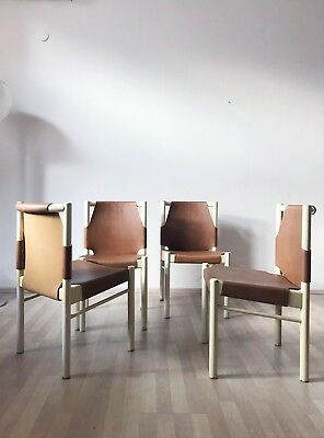 SET of 4 VINTAGE MODERNIST 1970s ITALIAN WOODEN DINING CHAIRS LEATHER SEATING