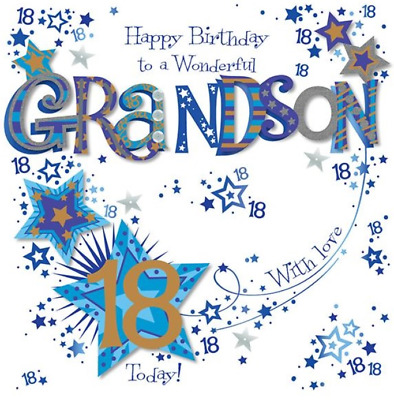 8x8 Large Grandson 18th Birthday Card Blue Luxury Handmade