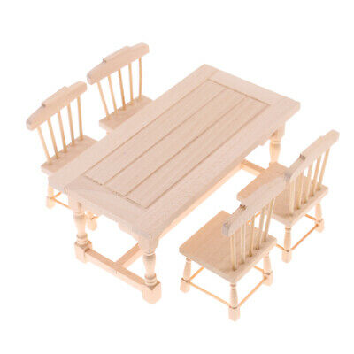 1:12 Dollhouse Miniature Furniture Wooden Dining Table Chairs Set Home Decor