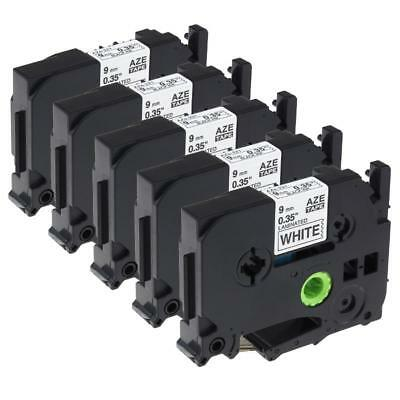 TZe-221 TZ221 Compatible for Brother P-Touch Label Tape Black on White 9mm 5pk