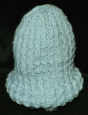 HAND KNITTED BLUE BABY BEANIE 0 - 3 Months