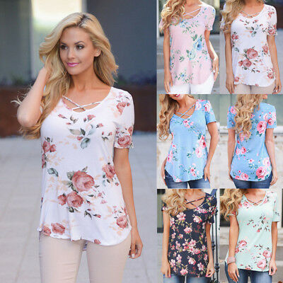 Womens Summer Short Sleeve T-Shirt V Neck Floral Print Loose Casual Tops Blouse