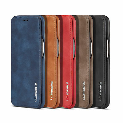 For Samsung Note 9 S9 S8 Slim Flip Vintage Leather Case Card Wallet Cover Stand