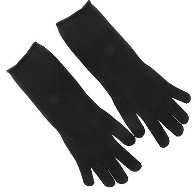 Stainless Steel Wire Mesh Cut Resistant Gloves Butcher Gloves Long Arm Black