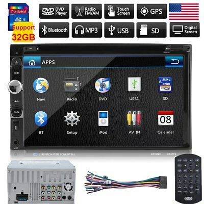 """7"""" Double 2 DIN HD Car DVD Player Bluetooth Radio Stereo Touch Screen MP3 MP4 KG"""