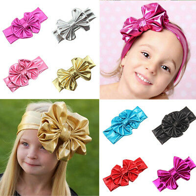 Baby Kids Girl Child Big Bow Faux Leather Stretchy Headband Hair Head Band NEW