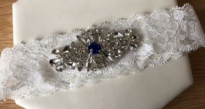 Ivory Lace Something Blue Jewelled Garter Bridal Wedding Accessories