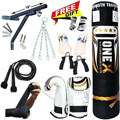 Pro 15 Piece Boxing Set 5ft Filled Heavy Punch Bag Gloves,Chains,Bracket/Kick
