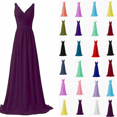 New Long Chiffon Prom Dress Bridesmaid Formal Evening Party Ball Gown Stock 6-22