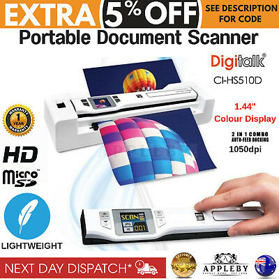 New Portable Document Scanner Digitalk Photo 2 in 1 Combo Auto Feed Dock Handy