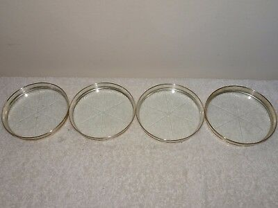 Vintage Set Of 4 Mid Century Webster Sterling Etched Glass Coasters