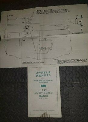 Genuine 1947 Ford Owner's Manual Installation Operating Adjust-O-Matic Radio