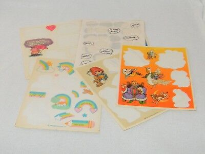 Set of 6 Vintage Hallmark Stickers - Word Bubbles/ Rainbow /Angel Partial Sheets