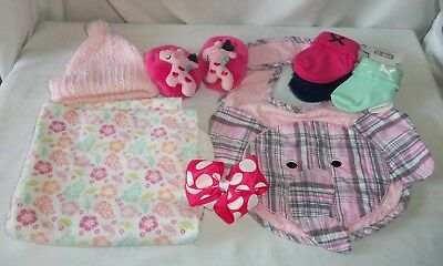 Lot New Born Baby Girl Shower Gift Pink Bib Hairbow Blanket Booties Hat Elephant
