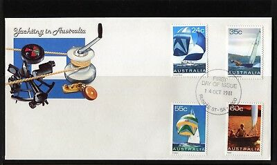1981 Yachting In Australia Set Of 4 First Day Cover, Mint Condition
