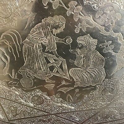 """Boho Moroccan Middle Eastern Brass Etched Brass Serving Tray Table Top  26"""" L"""