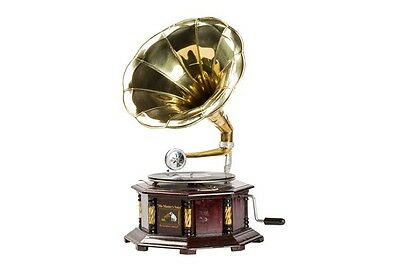 Gramophone HIS MASTER VOICE wooden and brass FUNCTION octagonal with inserts